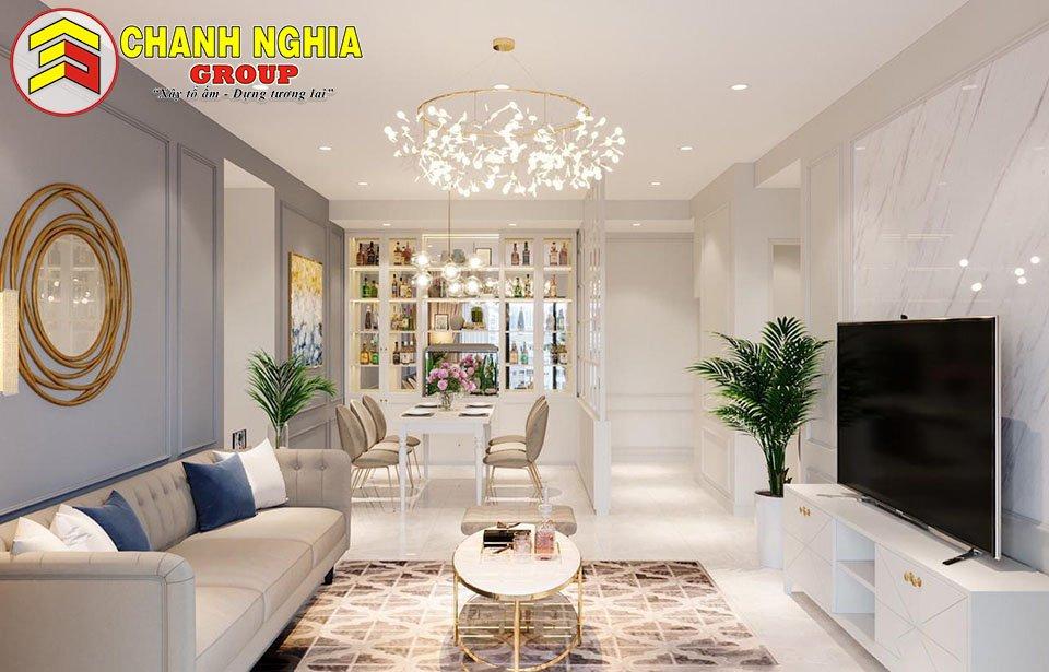 Mẫu thiết kế phòng khách nhà phố tân cổ điển 1 trệt 3 tầng lầu