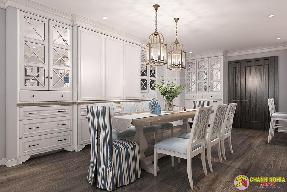 Thiết kế phòng ăn, nhà bếp nhà phố tân cổ điển 1 tầng trệt và 3 tầng lầu