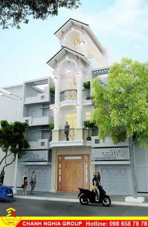 mẫu nhà phố tân cỗ điển - xây dựng nhà phố tân cỗ điện tại lai thieu bình dương- chanh nghia group