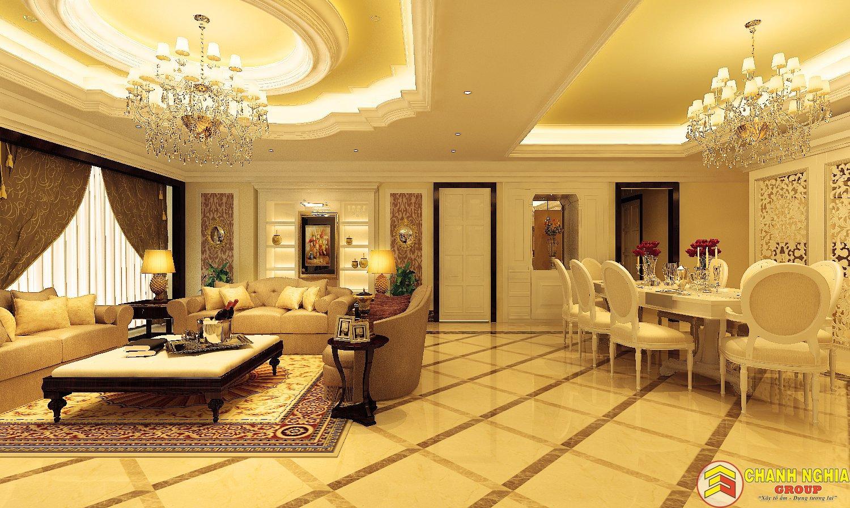 Mẫu phòng khách biệt thự tân cổ điển 3 tầng