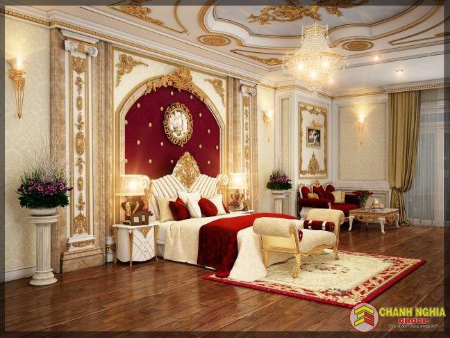 Mẫu phòng ngủ biệt thự tân cổ điển 3 tầng